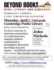 John Nichols hosts wrapup at Cambridge Public Library